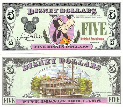 Goofy / Steamboat Back $5 - 1987A (2nd Version)