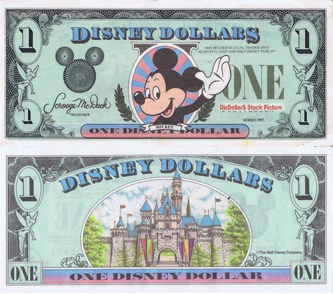 Waving Mickey / Sleeping Beauty's Castle $1 - 1987
