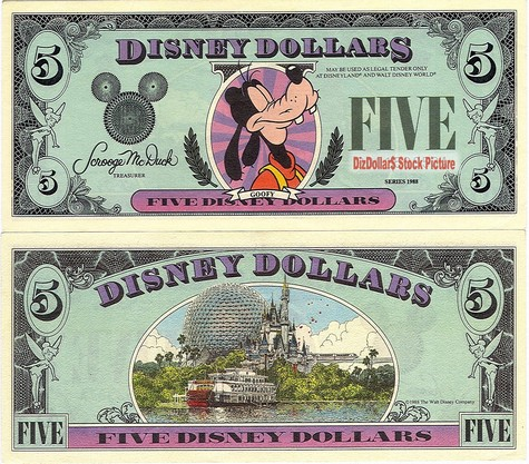 Goofy / Walt Disney World $5 - 1988