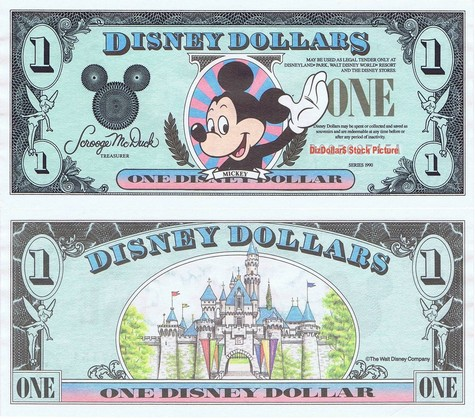 Waving Mickey / Sleeping Beauty's Castle $1 - 1990