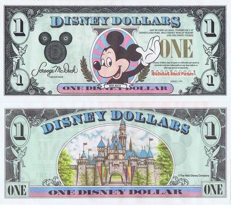 Waving Mickey / Sleeping Beauty's Castle $1 - 1991
