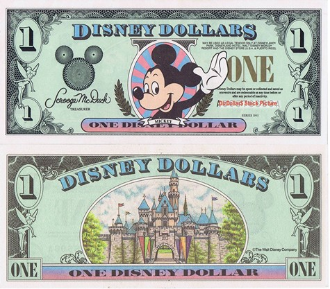 Waving Mickey / Sleeping Beauty's Castle $1 - 1995