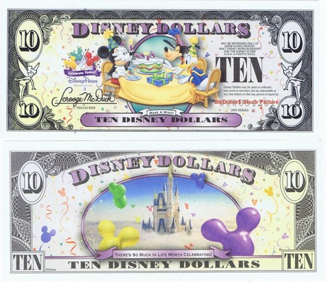 Mickey, Donald & Goofy with Cake / Cinderella's Castle in Clouds $10 - 2009
