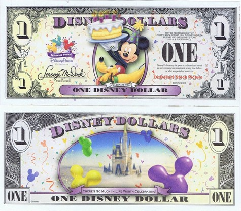 Mickey & Pluto with Cake / Cinderella's Castle in Clouds $1 - 2009