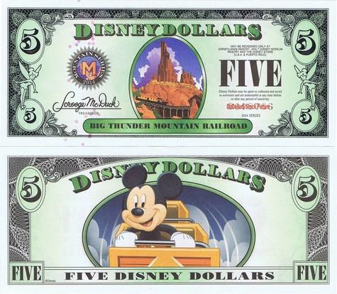 Big Thunder Railroad Mountain / Mickey $5 - 2014
