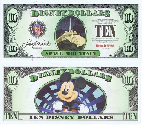 Space Mountain / Mickey $10 - 2014