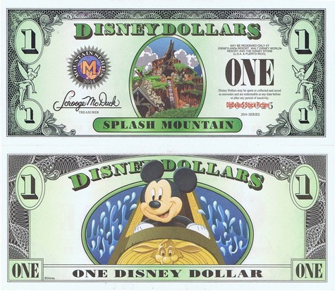 Splash Mountain / Mickey $1 - 2014