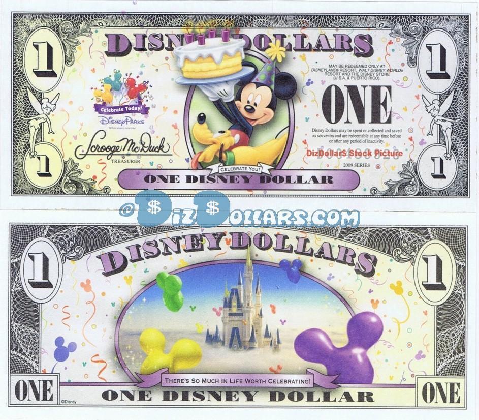 2009 $1 T Series Uncirculated Disney STORE Dollar Mickey Pluto Dollars CELEBRATE