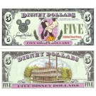 "1987A ""A"" $5 AU Disney Dollar - Goofy front with Disneyland ""Mark Twain"" Riverboat on back - 1987A Second Version series from Disneyland ~ © DizDollars.com"