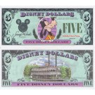 "1987 ""D"" $5 UNC Disney Dollar - Goofy front with Disneyland ""Mark Twain"" Riverboat on back - 1987 Inaugural Series from Disney World ~ © DizDollars.com"