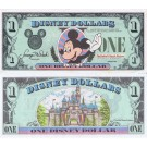 "1987 ""D"" $1 UNC Disney Dollar - Waving Mickey front with Sleeping Beauty's Castle Disneyland on back - 1987 Inaugural Series from Disney World ~ © DIZDUDE.com"