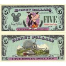 "1988 ""A"" $5 UNC Disney Dollar - Goofy front with Disney World on back - 1988 Series from Disneyland - Scarce~ © DizDollars.com"