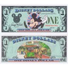 "1988 ""D"" $1 UNC 5 Digit S/N Disney Dollar - Waving Mickey front with Sleeping Beauty's Castle Disneyland on back - 1988 Series from Disney World ~ © DIZDUDE.com"