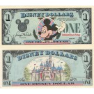 "1989 ""D"" $1 UNC Disney Dollar - Waving Mickey front with Sleeping Beauty's Castle Disneyland on back - 1989 Series from Disney World ~ © DIZDUDE.com"
