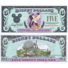 "1990 ""A"" $5 UNC RARE 5 Digit S/N A00015544A Disney Dollar - Goofy front with Disney World on back - 1990 Series from Disneyland  ~ © DizDollars.com"