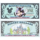 "1990 ""A"" $1 UNC S/N D02562745A Disney Dollar - Waving Mickey front with Sleeping Beauty's Castle Disneyland on back - 1990 Series from Disney World  ~ © DizDollars.com"