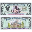 "1991 ""D"" $1 UNC S/N D00670845A Disney Dollar - Waving Mickey front with Sleeping Beauty's Castle Disneyland on back - 1991 Series from Disney World ~ © DizDollars.com"