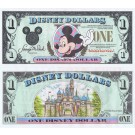 "1991 ""D"" $1 UNC 2 Consecutive Disney Dollar - Waving Mickey front with Sleeping Beauty's Castle Disneyland on back - 1991 Series from Disney World ~ © DizDollars.com"
