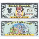 "1991 ""D"" $10 AU 5 Digit Disney Dollar - Minnie Mouse front with Disneyland Backdrop on back - 1991 Series from Disney World ~ © DizDollars.com"