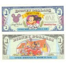 "1993 ""A"" $1 UNC Disney Dollar - Bowtie Mickey front with Mickey in Toontown on back - Mickey's 65th Birthday Series from Disneyland ~ © DizDollars.com"