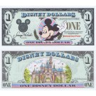 "1994 ""A"" $1 UNC Disney Dollar - Waving Mickey front with Sleeping Beauty's Castle Disneyland on back - 1994 Series from Disneyland ~ © DizDollars.com"