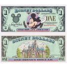 "1995 ""A"" $1 UNC Disney Dollar - Waving Mickey front with Sleeping Beauty's Castle Disneyland on back - 1995 Series from Disneyland ~ © DizDollars.com"