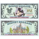 "1996 ""A"" $1 UNC S/N A01261288A Disney Dollar - Waving Mickey front with Sleeping Beauty's Castle Disneyland on back - 1996 Series from Disneyland ~ © DizDollars.com"
