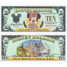"1996 ""A"" $10 UNC Disney Dollar - Minnie Mouse front with Disneyland Backdrop on back - 1996 Series from Disneyland ~ © DizDollars.com"