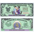 "1997 ""D"" $5 UNC RARE S/N D00241794A Disney Dollar - Top Hat Goofy front with Lights and Fireworks on back - Time to Remember the Magic 25th anniversary Walt Disney World Series from Disney World ~ © DizDollars.com"