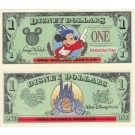 "1997 ""A"" $1 UNC Disney Dollar - Sorcerer Mickey front with Cinderella's Coach on back - Time to Remember the Magic 25th anniversary Walt Disney World Series from Disneyland ~ © DizDollars.com"