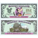 "1998 ""A"" $5 UNC Disney Dollar - Goofy front with Disney World on back - Fab 3 Series from Disneyland ~ © DizDollars.com"