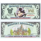 "1998 ""A"" $1 UNC Disney Dollar - Mickey front with Disneyland Castle on back - Fab 3 Series from Disneyland ~ © DizDollars.com"