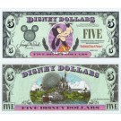 "1999 ""A"" $5 UNC Disney Dollar - Goofy front with Walt Disney World Icons on back - Fab 3 Series from Disneyland ~ © DizDollars.com"