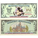 "1999 ""A"" $1 UNC Disney Dollar - Mickey front with Disneyland Sleeping Beauty's Castle on back - Fab 3 Series from Disneyland ~ © DizDollars.com"