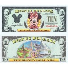 "1999 ""A"" $10 UNC Disney Dollar - Minnie front with Disneyland Icons on back - Fab 3 Series from Disneyland ~ © DizDollars.com"