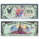 "2000 ""A"" $10 UNC 2 Consecutive S/N A00144053A & 052A Disney Dollar - Millennium Donald - Disneyland Paris back - ""A"" Millennium Series from Disneyland"