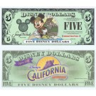 "2001 ""A"" $5 UNC Disney Dollar - Backpacking Mickey front with California Adventure Park on back - Disneyland Resort Series from Disneyland ~ © DizDollars.com"