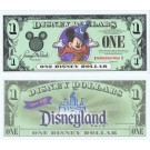 "2001 ""A"" $1 UNC 2 Consecutive S/N A01199065A - 066A Disney Dollar - Sorcerer Mickey front with Disneyland Park on back - Disneyland Resort Series from Disneyland ~ © DizDollars.com"