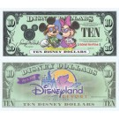 "2001 ""A"" $10 with 1/2 Inch Tear Disney Dollar - Tourists Mickey and Minnie front with Disneyland Resort on back - Disneyland Resort Series from Disneyland ~ © DizDollars.com"