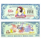 "2002 ""A"" $5 UNC Disney Dollar - Snow White front with 100 Years of Magic on back - 100 Years of Magic Series from Disneyland ~ © DizDollars.com"