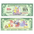 "2002 ""A"" $10 UNC 2 Consecutive Disney Dollar - Tinker Bell front with 100 Years of Magic on back - 100 Years of Magic Series from Disneyland ~ © DizDollars.com"
