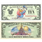 "2003 ""A"" $10 UNC 2 Consecutive Disney Dollar - Donald front with Disneyland Paris Resort Sleeping Beauty's Castle on back - Welcoming Series from Disneyland ~ © DizDollars.com"