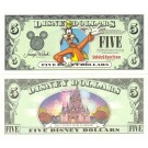 "2003 ""A"" $5 UNC Disney Dollar - Goofy front with Disney World Resort Cinderella's Castle on back - Welcoming Series from Disneyland ~ © DizDollars.com"