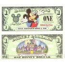 "2003 ""A"" $1 UNC Disney Dollar - Mickey front with Disneyland Resort Sleeping Beauty's Castle on back - Welcoming Series from Disneyland ~ © DizDollars.com"