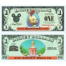 "2005 ""T"" $1 MINT UNC 4 Consecutive Disney Dollars Chicken Little front with Oakey Oaks on back - S/N T10163847A -850A  - ""T"" Movie Series from Disney Store ~ © DIZDOLLARS.com"