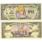 "2005 ""T"" $1 UNC Disney Dollars - Cinderella front with Disneyland Sleeping Beauty's Castle on back - ""T"" 50th Anniversary Series from Disney Store ~ © DIZDOLLARS.com"