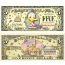 "2005 ""T"" $5 UNC Disney Dollar - Donald front with Disneyland Sleeping Beauty's Castle and barcode on back - ""T"" 50th Anniversary Series from Disney Store ~ © DIZDOLLARS.com"