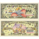 "2005 ""T"" $1 UNC Disney Dollar - Dumbo front with Disneyland Sleeping Beauty's Castle and barcode on back - ""T"" 50th Anniversary Series from Disney World ~ © DIZDOLLARS.com"