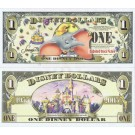"2005 ""T"" $1 UNC Disney Dollar - Dumbo front with Disneyland Sleeping Beauty's Castle without barcode on back - ""T"" 50th Anniversary Series from Disney World ~ © DIZDOLLARS.com"