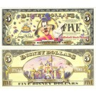 "2005 ""T"" $5 UNC 2 Consecutive S/N T00285721 & 720 Disney Dollar - Goofy front with Disneyland Sleeping Beauty's Castle on back - ""T"" 50th Anniversary Series from Disney Store ~ © DIZDOLLARS.com"
